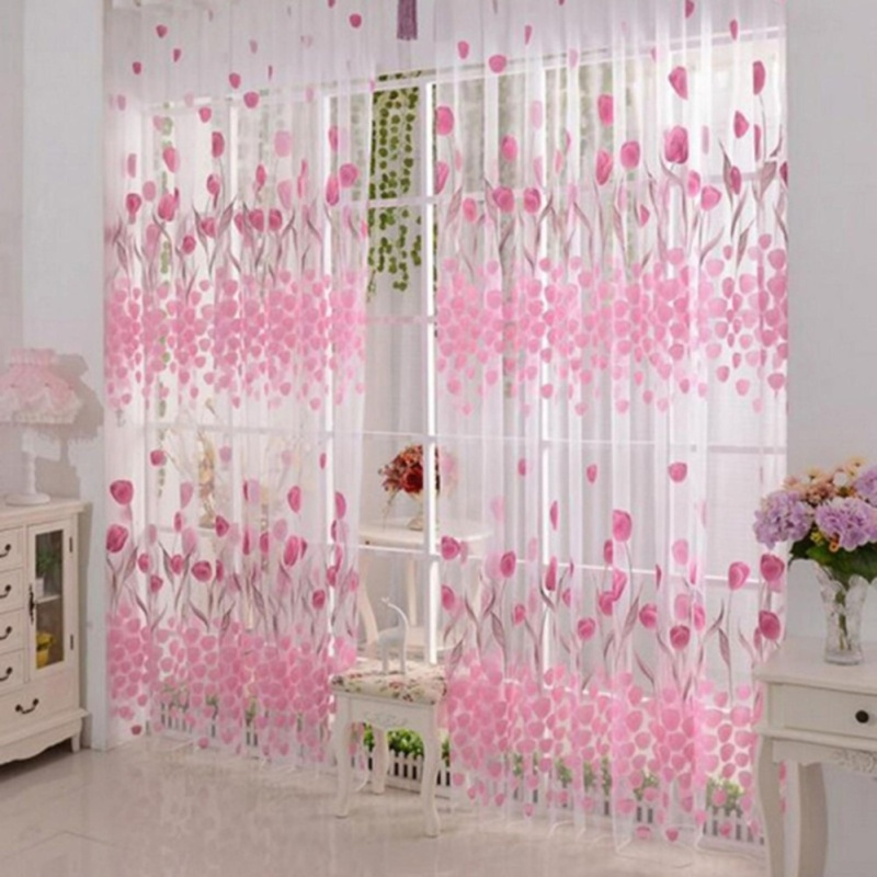 1pcs Tulip Printed Tulle Voile Door Window Curtain Drape Panel(Note:you may need 2pcs)