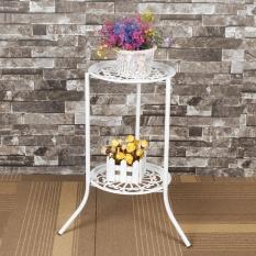 Two-layer Elegant Metal Plant Stand Shelf Flower Pot Rack Holder White - intl