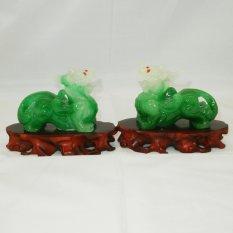 Hình ảnh Tỳ Hưu cặp phong thủy (xanh ngọc)