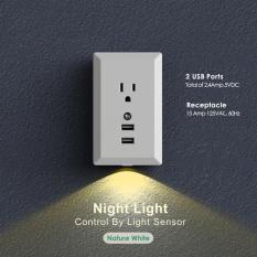 UINN Đèn Ngủ Ổ điện Cảm Biến Chuyển Động Dual USB Đĩa Treo Tường 2.4A MỸ Cắm ấm trắng-quốc tế
