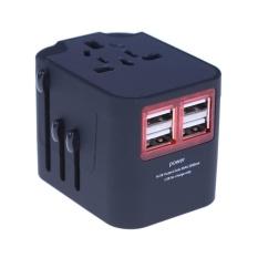 Hình ảnh Ổ cắm điện Du Lịch đa năng AC Sạc Cắm Chuyển Đổi với 4 CỔNG USB (Màu Đen)-quốc tế