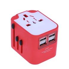 Hình ảnh Ổ cắm điện Du Lịch đa năng AC Sạc Cắm Chuyển Đổi với 4 CỔNG USB (Màu Đỏ)-quốc tế