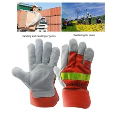 USTORE Leather Work Glove Safety Protective Gloves Fire Proof With Reflective Strap