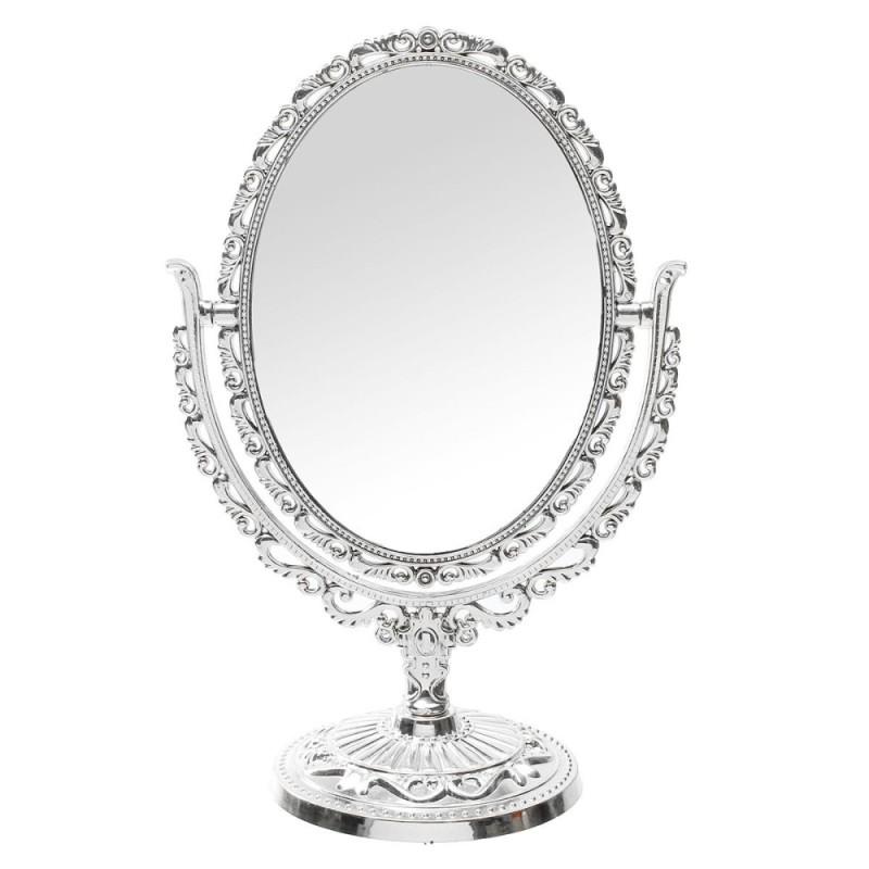 Vanity Mirror hình Bầu Dục 31 cm bạc vintage cầm tay Để Bàn Trang Điểm gương (Bạc)-quốc tế