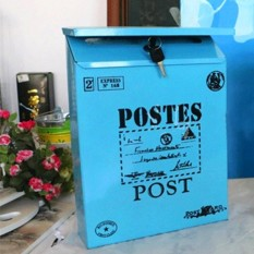 Hình ảnh Vintage Metal Iron Mail Letter Newspaper Cast Box Home House Garden Post Decor # Blue - intl