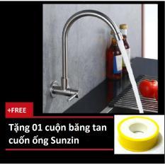 Vòi rửa chén cắm tường cần cứng - chất liệu inox 304, tặng thêm 01 cuộn băng tan
