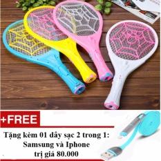 Hình ảnh Vợt muỗi loại phổ biến HL/888 + Tặng 01 dây sạc điện thoại 2 trong 1 cho Iphone và Samsung - Hàng nhập khẩu