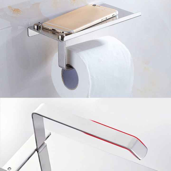Wall Mounted 2 in 1 Stainless Steel Wall Toilet Roll Paper Holder Rack Tissue Roll Stand with Phone Holder Rack Shelf for Bathroom - intl