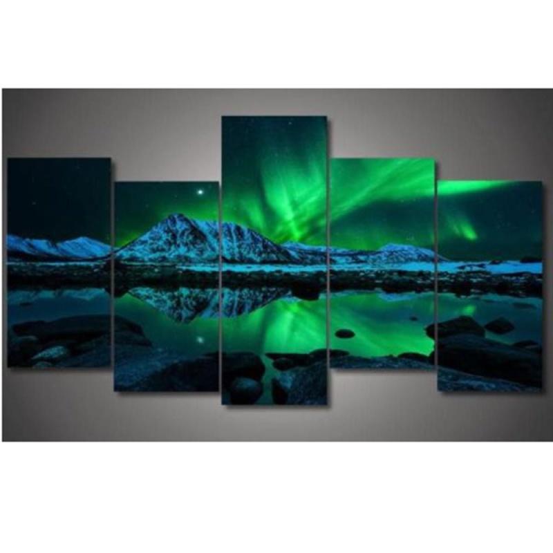 Wall Painting Green Blue Modern Aurora Borealis Art Picture Canvas Print - intl