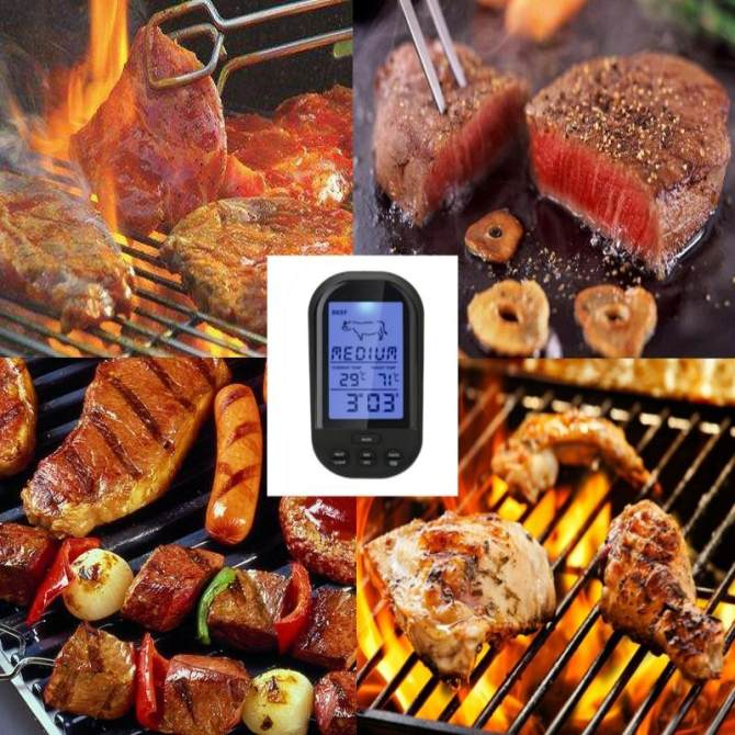 Wireless Digital LCD Thermometer For BBQ Grill Meat Kitchen Oven Food Cooking Black - intl