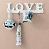 Wood LOVE 4 Hanger Towel Hat Coat Clothes Key Scarf Wall Mount Rack Hook White - intl