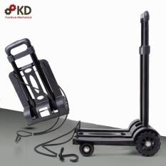Xe kéo hàng 4 bánh gấp gọn tải trọng 60kg bánh xe cao su chống ồn Ksmart ( Đen ) Để vừa cốp xe lead