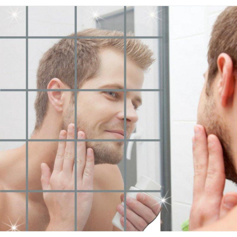 Yika Mới Đến 16 cái Gương Vuông Ốp Dán Tường 3D Decal Khảm Nhà-quốc tế