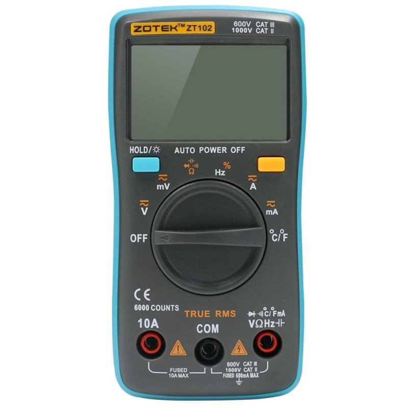 ZOTEK ZT102 Auto Digital Multimeter 6000 Counts Backlight AC/DC Transform Ohm Ammeter Resistance Capacitance Temperature Tester Meter - intl