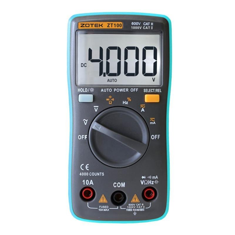ZOTEK ZT100 Portable Autoranging Digital Multimeter 4000 Counts Backlight AC/DC Ammeter Voltmeter Ohm Portable Meter - intl