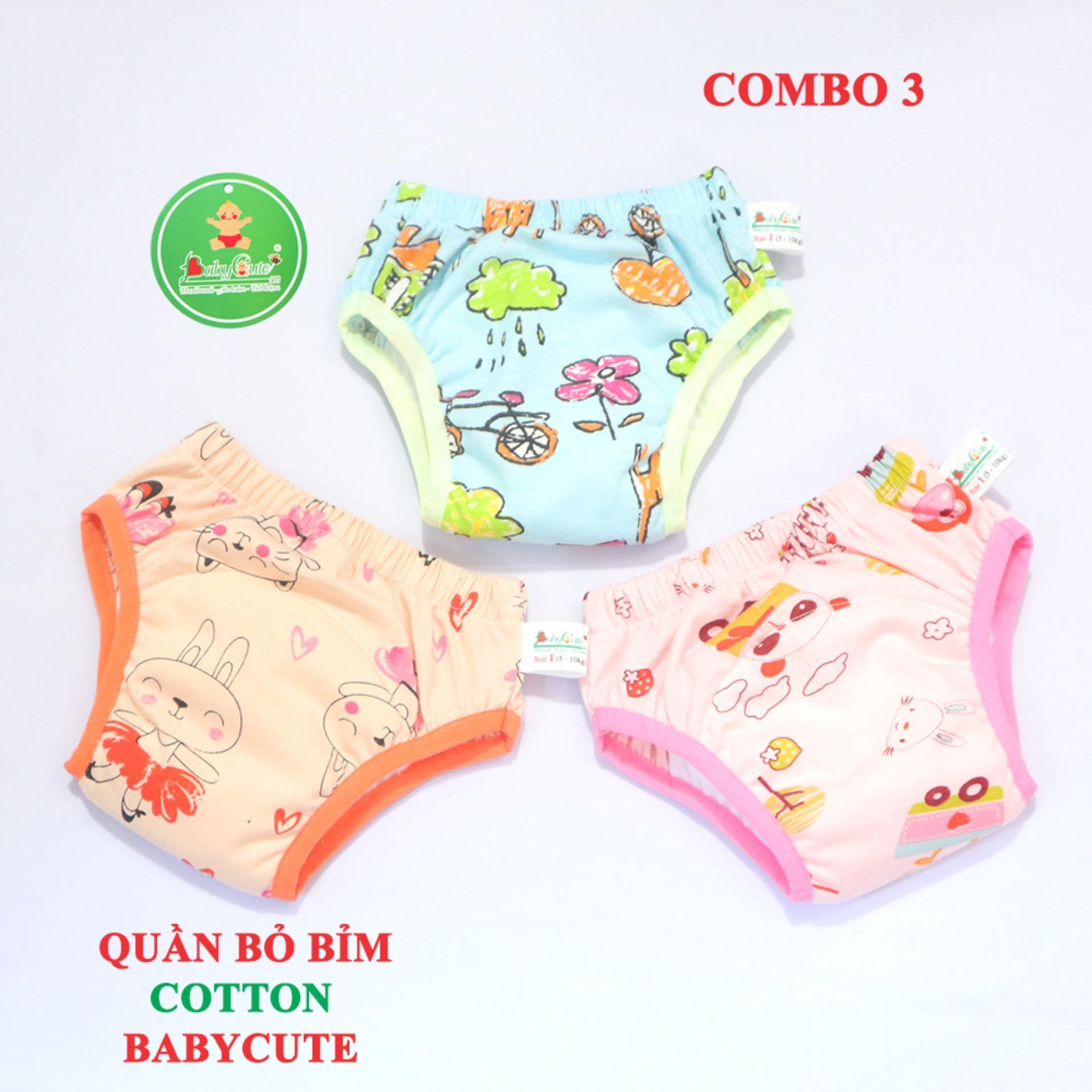 Combo 3 Quần Bỏ Bỉm Cotton Cao Cấp BabyCute size 1 (5 - 10kg) - mẫu ngẫu nhiên cho bé Gái