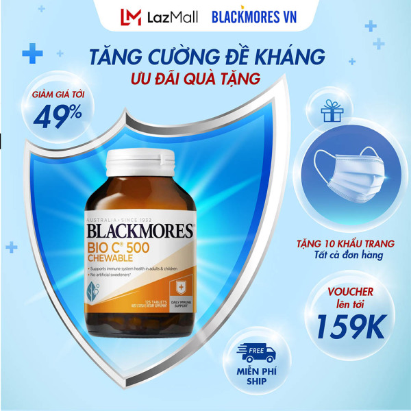 Blackmores Bio C 500mg 125v - Viên bổ sung vitamin C dạng nhai Blackmore Úc