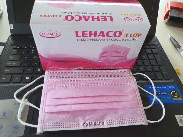 Giá bán Khẩu trang y tế 4 lớp Lehaco Hộp 50 cái - vải không dệt kháng khuẩn (Đóng gói 5 bịt)