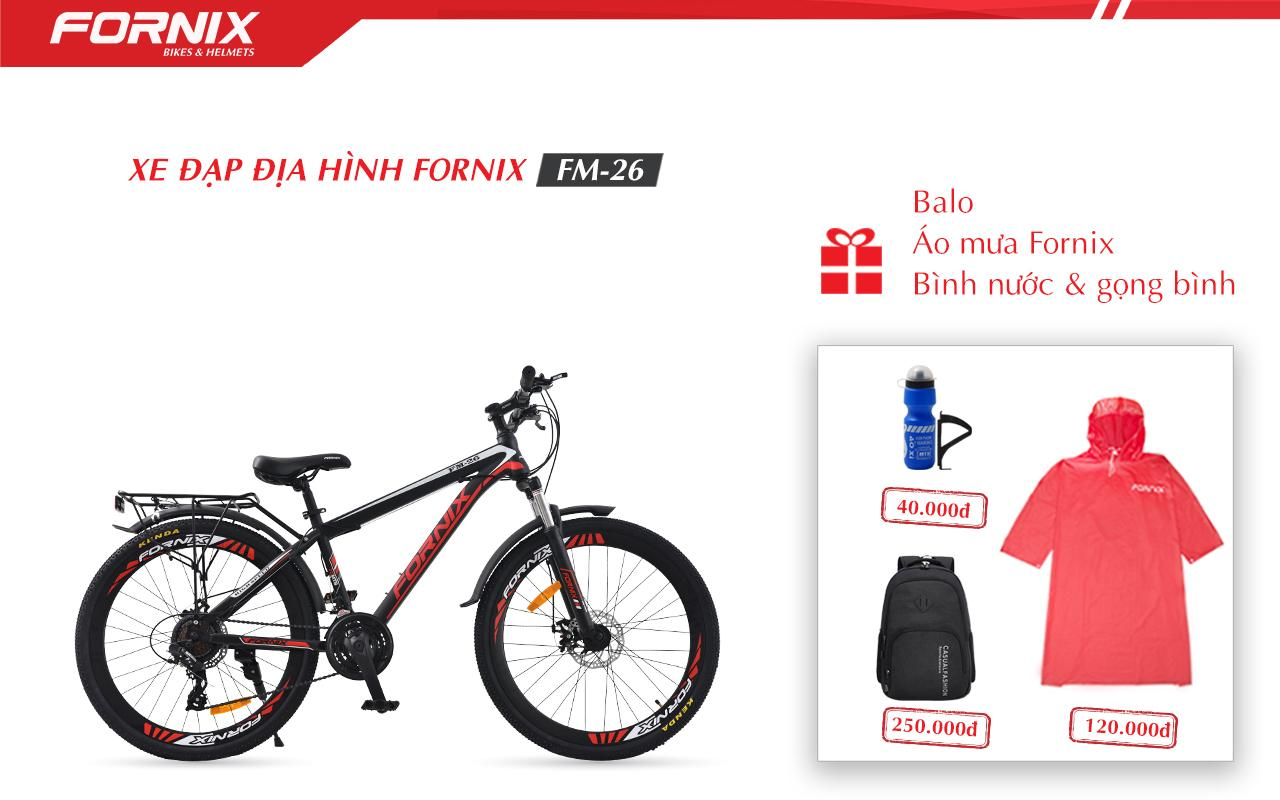 Mua Xe đạp địa hình thể thao Fornix FM26 + (Gift) Balo,Áo mưa, Bình và gọng bình