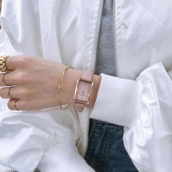 Nơi bán Đồng hồ nữ Jigin mặt chữ nhật dây da mềm mỏng ôm tay, chống nước 3 ATM, mặt kính Mineral có độ cứng cao