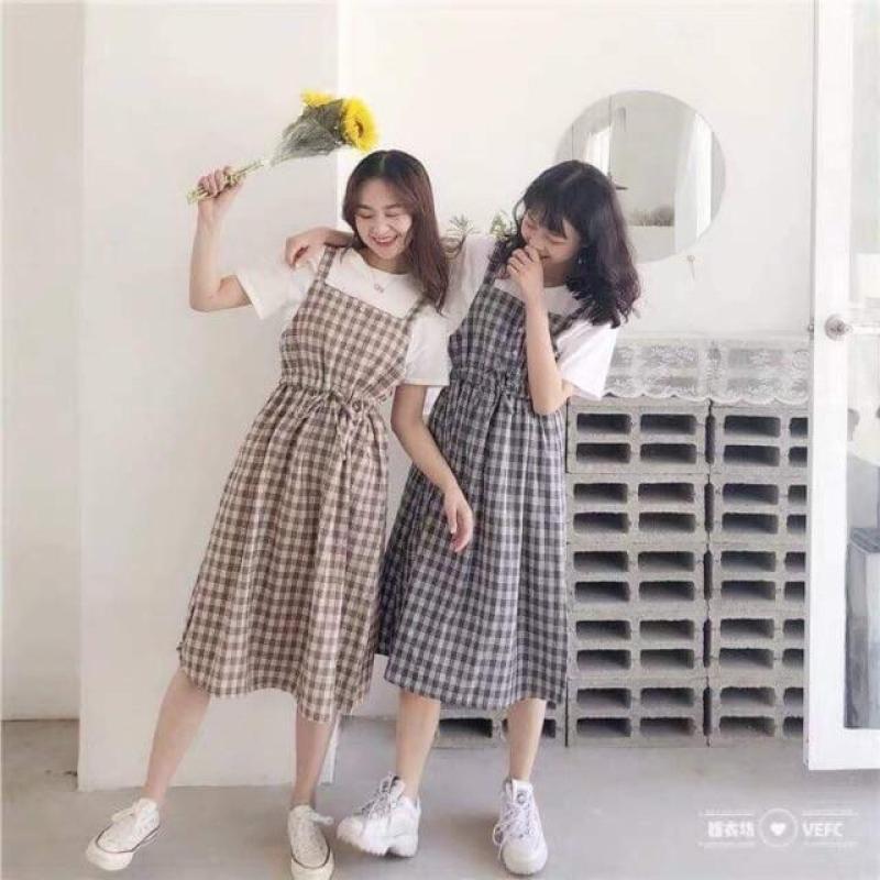 Váy yếm mùa hè cho nữ hoạ tiết kẻ caro chết cotton cực mát có thể mặc đôi mặc nhóm cực xinh