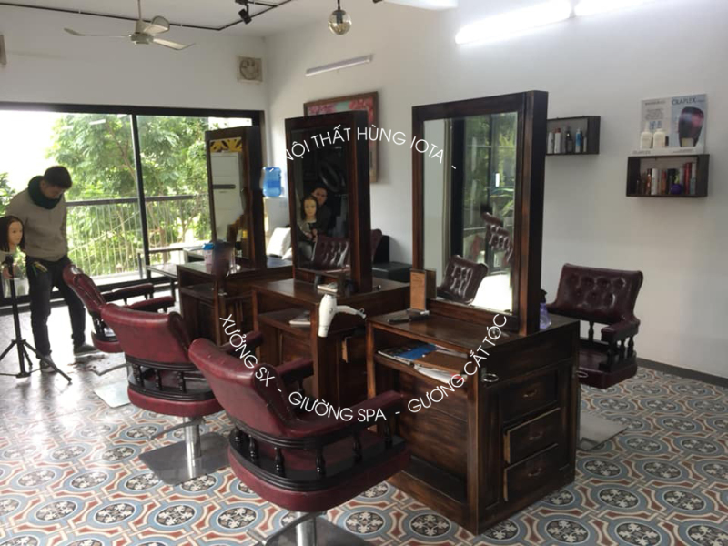 Tủ gương cắt tóc barber 2 mặt hình chữ nhật cổ điển retro phong cách Mĩ