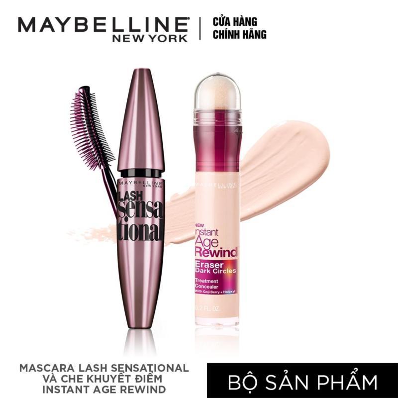 Bộ đôi Mascara dài & tơi mi Lash sensational và Bút che khuyết điểm instant Age Rewind Maybelline tông sáng