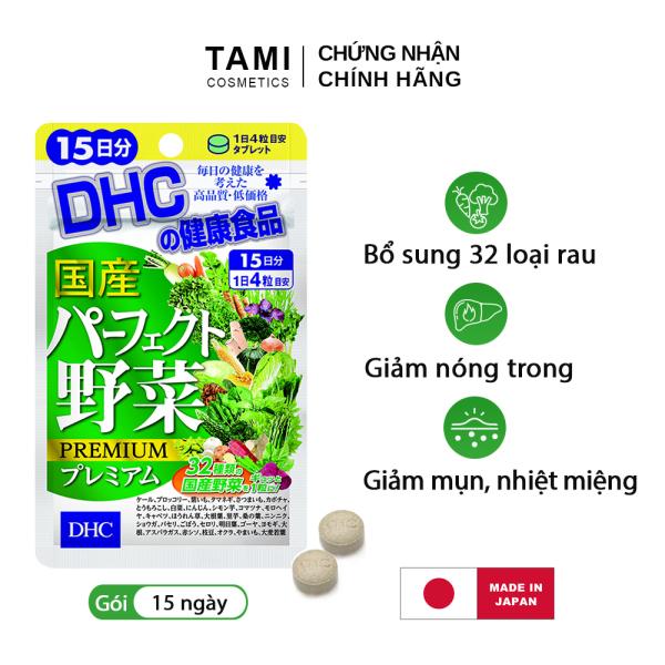 Viên uống rau củ DHC Nhật Bản thực phẩm chức năng 32 loại rau bổ sung chất xơ, hỗ trợ hệ tiêu hóa, giảm táo bón, làm đẹp da gói 15 ngày TA-DHC-VEG15 cao cấp