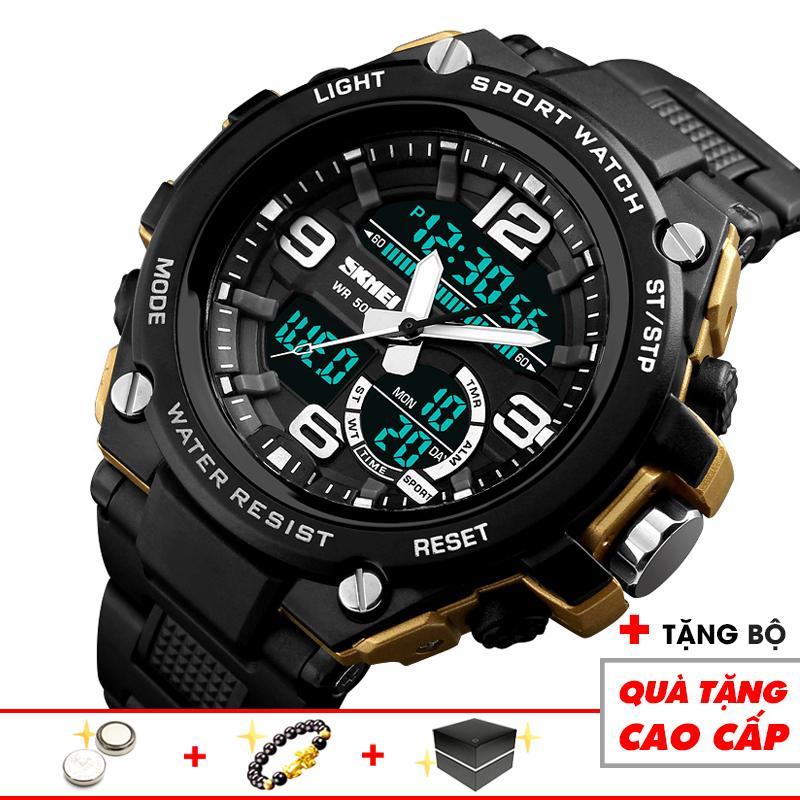 Đồng hồ nam thể thao điện tử SKMEI cao cấp SKM22 nam tính lịch thiệp 3 kim 3 màn hình thời thượng độc đáo (Đen viền vàng) - Arman Store bán chạy