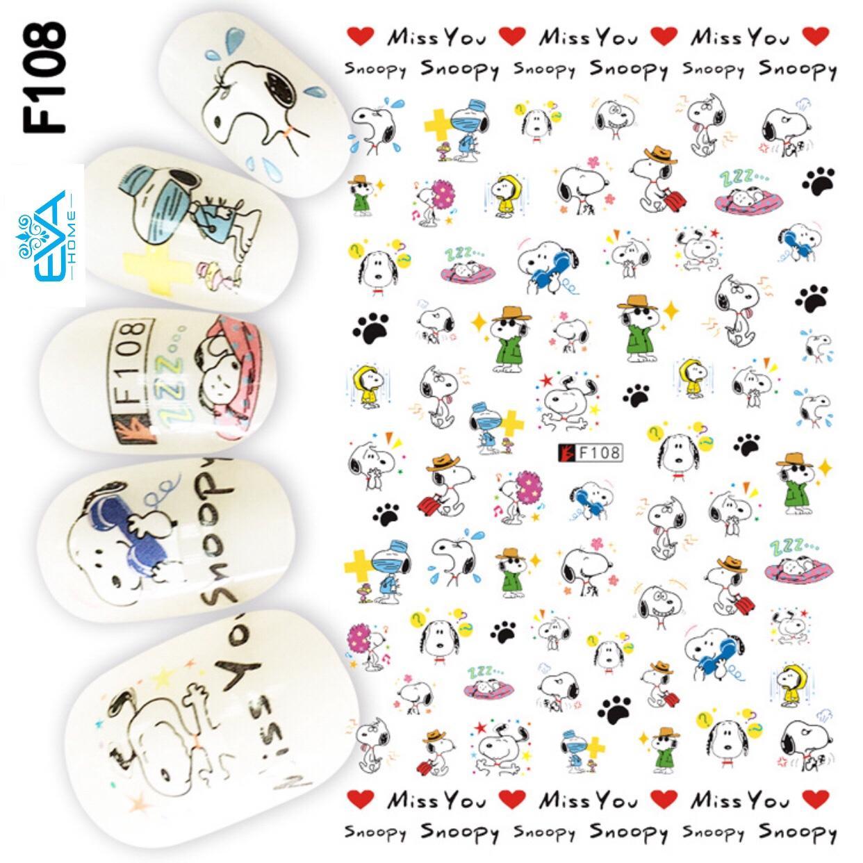 Miếng Dán Móng Tay 3D Nail Sticker Hoạt Hình Chú Chó Snoopy F108 tốt nhất
