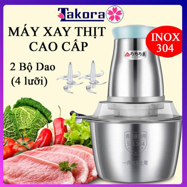 Máy xay thịt cá đa năng cối inox loại 2 lít và 3 lít cao cấp chuyên xay thực phẩm, xay gia vị, máy xay thịt bộ dao 4 lưỡi cối Inox 304, trục hợp kim không gỉ loại tốt - TAKORA
