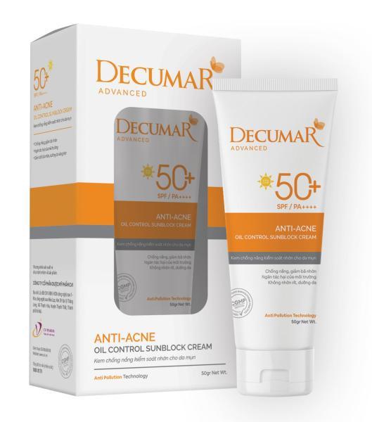 Kem chống nắng Decumar Advanced Sunblock 50gr giành cho Da mụn hoàn toàn mới