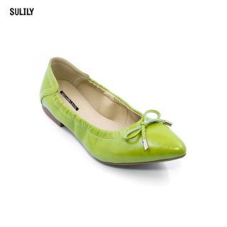 Giày Búp Bê Mũi Nhọn AD by Sullily màu xanh lá mang êm chân