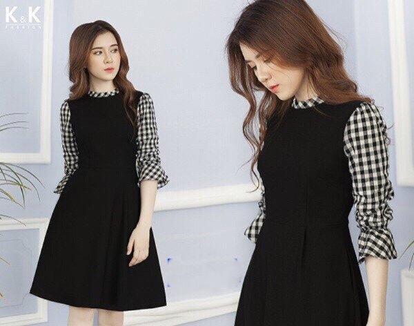 Đầm suông công sở phối tay caro TPD