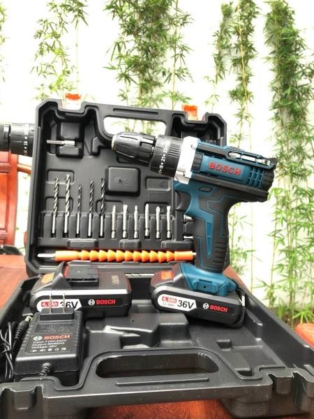 Máy khoan pin BOSCH 36V Lõi đồng có búa - Máy khoan bê tông, gỗ , kim loại, bắt vít chuyên dụng- tặng 24 phụ kiện