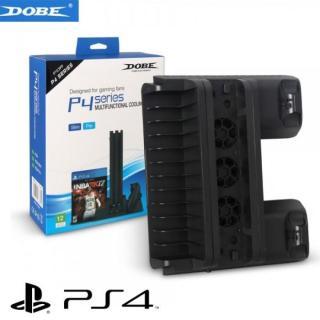Đế quạt tản nhiệt cho máy Sony PS4 slim và ps4 pro kết hợp khay đựng đĩa game và sạc cho 2 tay cầm PS4 (Đen) thumbnail