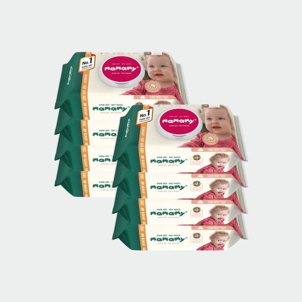 [GIẢM 40%] Combo 8 gói khăn ướt ngừa hăm, rôm sảy Mamamy 100 tờ/gói kháng khuẩn, an toàn cho trẻ sơ sinh