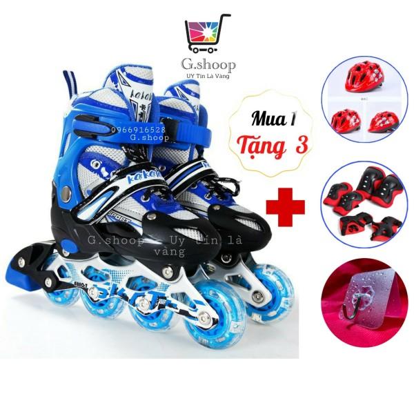 Mua Giày patin trẻ em 4 bánh có led tặng kèm combo nón bảo hộ, giáp bảo hộ chân tay