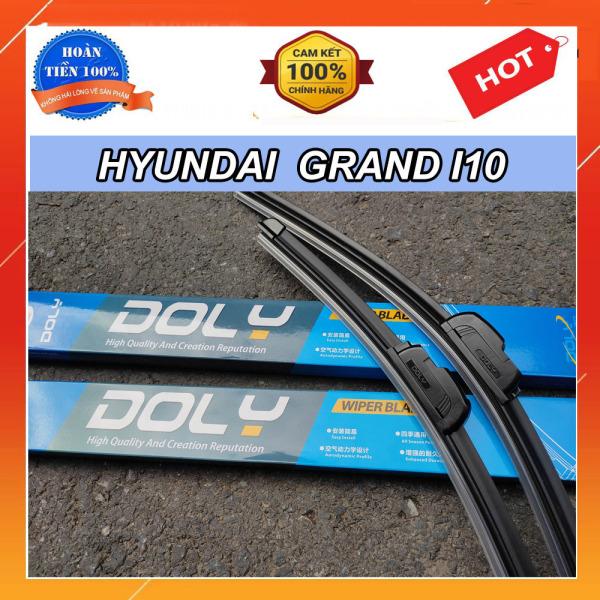 Chổi Gạt Mưa Xe Hyundai Grand I10- Bộ 2 Cái Gạt Mưa Silicon Chuẩn Hãng DOLY Gạt Nước Sạch, Êm Ko Gây Tiếng Ồn, Lắp Đặt Đơn Giản