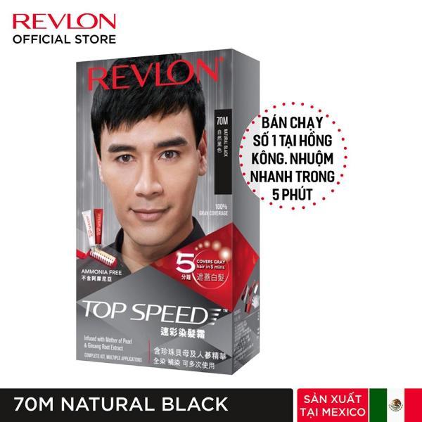 [Tặng khẩu trang] Nhuộm tóc phủ bạc Revlon TopSpeed dành cho nam - 70M Natural Black - Đen + Tặng 01 Khẩu Trang