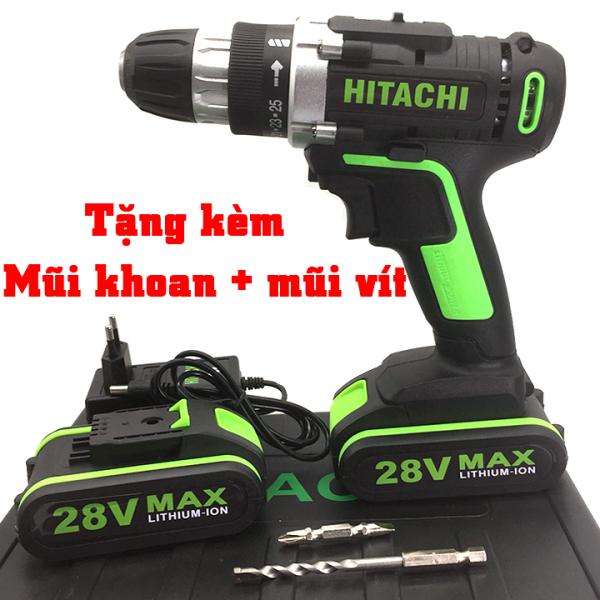 ( Có hình thật ) Máy khoan pin cầm tay HITACHI 28V - Máy bắt vít đa năng HITACHI 28V -  Máy khoan gỗ , sắt , bắn tôn , bắt vít
