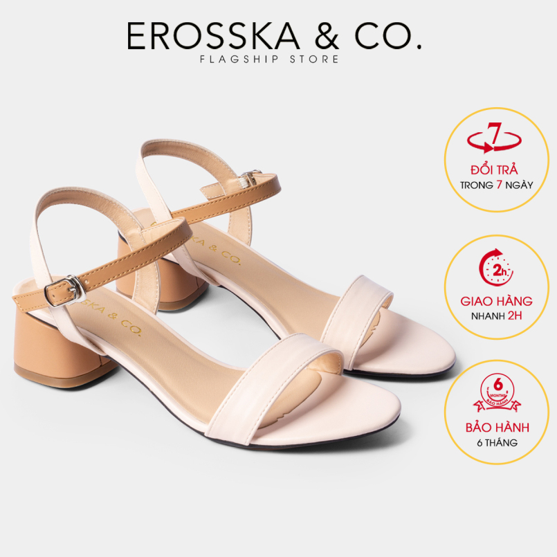 Giày sandal cao gót nữ 3p đi học Erosska mũi tròn phối dây nhiều màu tinh tế cao EB019 giá rẻ