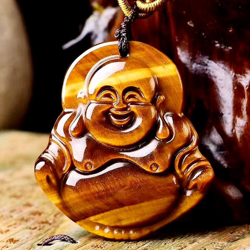Mặt Dây Chuyền Phật Di Lặc Mắt Hổ ( Size Nữ ) - Mang Đến Niềm Vui - Tâm Hồn An Nhiên - Tặng Kèm Dây