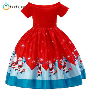Váy Giáng Sinh Cho Bé Gái, Váy Chắp Vá Ren Hình Bông Tuyết Ông Già Noel Quần Áo Thời Trang, Váy In Hoạt Hình Quần Áo Thời Trang
