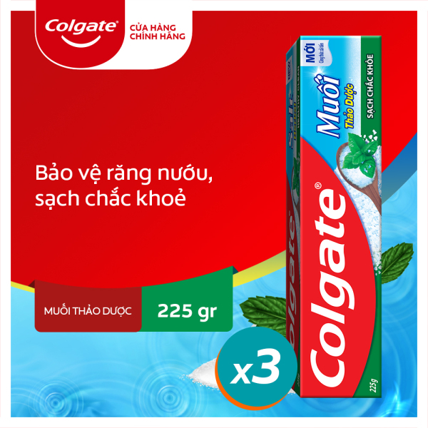 Bộ 3 kem đánh răng Colgate bảo vệ nướu Muối Thảo Dược Herbal Salt 225gx3 giá rẻ