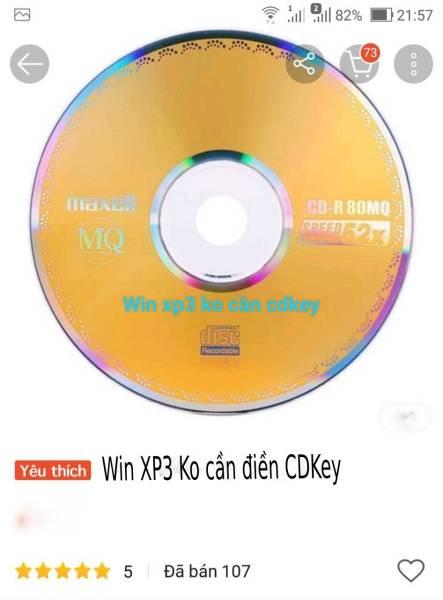 Bảng giá đĩa cài win XP3 ko phải điền cdkey Phong Vũ