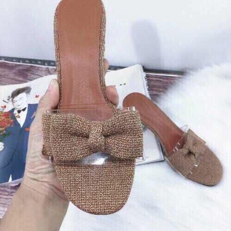 Giày cao gót vuông 5p bản trong nơ vải giá rẻ