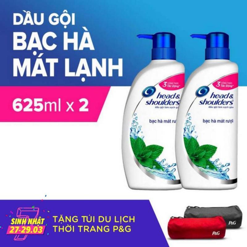 Combo 2 Chai Dầu Gội Head & Shoulders Bạc Hà Mát Lạnh 625ml + Tặng Túi Du lịch thời Trang P&G giá rẻ