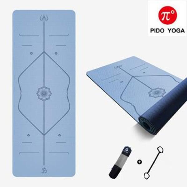 Bảng giá Thảm tập Yoga Định tuyến TPE 6mm PIDO Cao Cấp - Tặng kèm túi đựng và dây buộc