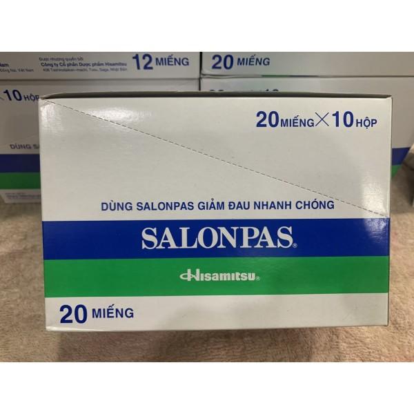 Cao dán Salonpas Giảm Đau Hộp Lớn 200 miếng (20 miếng x 10 hộp)--